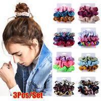 3Pcs/Set Elastic Hair Bands Silk/Velvet Scrunchie Hair Ties Ponytail Holder Rope