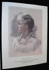 1891 Print of Anna Williams the Model for the US Silver Morgan Dollar