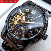 Mens Flywheel Luxury Bling Skeleton Automatic Mechanical Wrist Stainless Watch