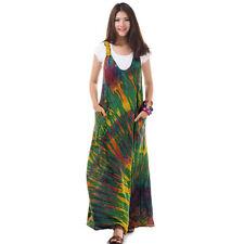 Batik Hippie Overall Kleid Maxikleid Sommerkleid Strandkleid Grün 36 38 40 42