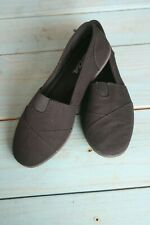 Soda Flat Shoes 7.5 Linen Canvas Slip On Loafers Memory Foam Gel All Black OBJI