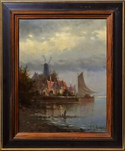 Dramatic Sky over Windmill n Sailing Boat German Master Oil painting late 19C