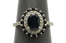 Silver 925 Oval Faceted Black Onyx - Double Halo Diamond Pave Cocktail Band Ring