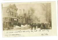 RPPC Fire, Bread Wagon Sleigh in KANE PA McKean County Real Photo Postcard