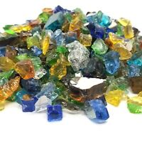 "Sea Glass - Blue, Amber & 1/2"" Premium Reflective Fire Glass Fireplace Fire Pit"