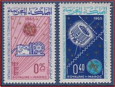 1965 MAROC N°484/485** UIT , Satellite , Espace, 1965 MOROCCO ITU Space Set MNH