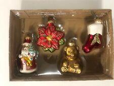 Hand Blown Glass Ornament Santa Stocking Teddy Poinsettia