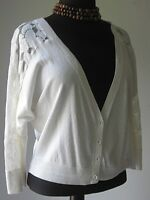 American Eagle Outfitters Cardigan Sweater Button Lace Crop Beige size Large