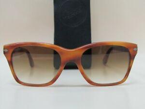 Persol 3027 Square Light Havana Gradient Sunglasses Made in Italy