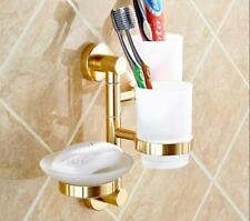 Bathroom Toothbrush Holder Bath Soap Dish Tumbler Cups Wall Mount Aluminum Gold