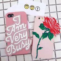 3D Cute Rose Flower Soft Silicone Rubber Back Case Cover for iPhone 6/6S/7 Plus