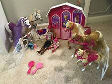 Lot Of Mattel Barbie Horses & Barn, Including Barbie, Chelsea, Horses, & More!