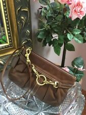 Coach Wristlet Belted Soft Brown Pleated Leather Bag Small W15