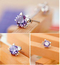 6x7mm 3D 925 Sterling silver cute cat kitty Amethyst CZ stud Earrings Gift box