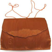 Vintage Fendi Brown Satin Small Handbag Lovely Flower Detailing On The Front