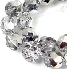 25 Firepolish Czech glass Faceted Round Beads - Half Coat Silver Crystal 6mm