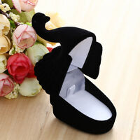 Velvet Swan Shaped Ring Earring Necklace Jewelry Display Gift Box Organizer Case