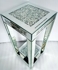 Diamond Crush Crystal Sparkly Silver Mirrored Square End Side Table 76cm Tall