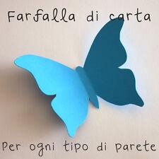 10 Farfalle 3D Celesti di carta lavorata a mano 10x7,3 cm
