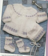 Knitting Pattern ~ Baby Girls Jacket, Bonnet & Booties Sweater ~ Instructions