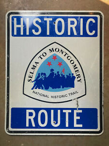Alabama Selma to Montgomery route national historic trail highway road sign 1996