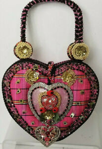 Mary Frances Heart Purse Beaded on Pink Plaid Embellished with Handle Vintage