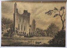 Encre de chine et lavis vers 1850 Jumièges Normandie ? Abbaye Barbizon