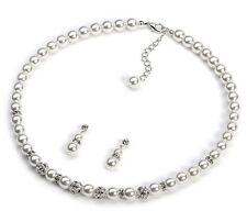 luxuriös weiße Perle Strass Brautschmuck Satz Ohrstecker Halskette S903
