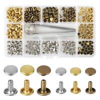 123 Set Leather Rivets Double Cap Rivet Tubular Metal Studs with Fixing Tool UK