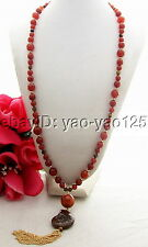 "Q121503 Charming! 31"" Carnelian&Tiger's Eyes&Spiral Shell Necklace"