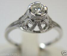 Antique Diamond Engagement Ring 18K White Gold Ring Size 6.5 EGL USA Art Deco