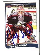 Joey Macdonald AUTOGRAPH 2004 CHOICE HOCKEY CARD SIGNED