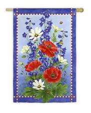 Patriotic Red White Blue Bloom Ladybugs Poppies  Wildflower Spring Large Flag