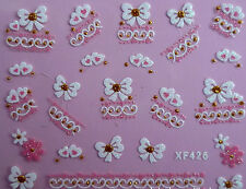 White Lace Butterfly Bows Flowers Hearts 3D Nail Art Stickers Decals Decoration