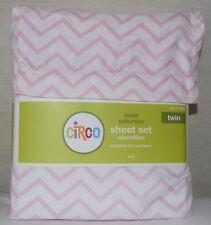 Circo CHEVRON Pastel PINK Twin Sheet Set White Girls Shabby Chic Cottage Stripe