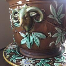Antique Majolica Jardiniere Planter Cache Pot - Figural Rams Goat Head - French?