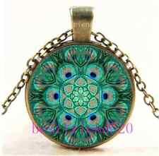 Vintage Mandala Peacock Photo Cabochon Glass Bronze Chain Pendant Necklace
