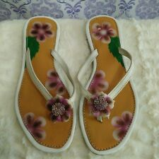 Hand Painted Floral Thong Sandals Flip Flops Womens Size 9 White Flower Detail