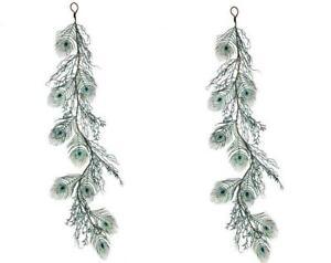 "Green Blue Teal Glitter Peacock Tail Bird Feather 48"" Christmas Garland"