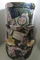 Round Stacking Nesting Hat Boxes Vineyard Wine Label Design