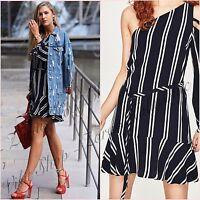 Zara Navy Striped Long Sleeve Off Shoulder Dress Size L 12 14 US 8 10 Blogger ❤