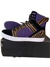 Supra Skytop 3 Pony Hair Tiger Print Black Suede Purple Mid Top Sneaker Men 10.5
