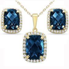 "11.99ct F SI 10k Yellow Gold Cushion Blue Topaz Diamond Earring Pendant Set 18"""