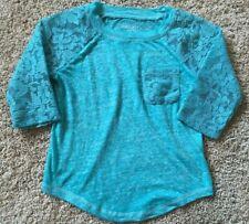 Girl's Blue Lace 3/4 Sleeve Xhilaration Top XS 4/5