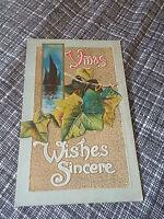 Holiday Postcard Christmas Xmas Wishes Sincere W.J. Thompson New York vtg