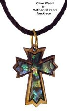Olive Wood & Mother of Pearl Necklaces - Ornate Latin Cross