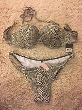 NWT Victorias Secret Very Sexy BIKINI Swim Set, 36C / L - Black White Geo /Snake