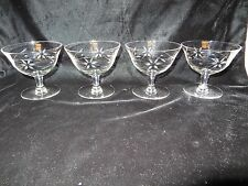 4 Vintage Etched Clear Glass Sherbets - Flowers - BEAUTIFUL