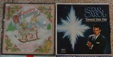 Christmas Records x2 Star Carol Tennessee Ernie Ford & A Country Christmas Card