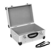 Alukoffer Werkzeugkoffer Münzkoffer Koffer Kiste SILBER 32x23x15,5cm+Griff +Gurt